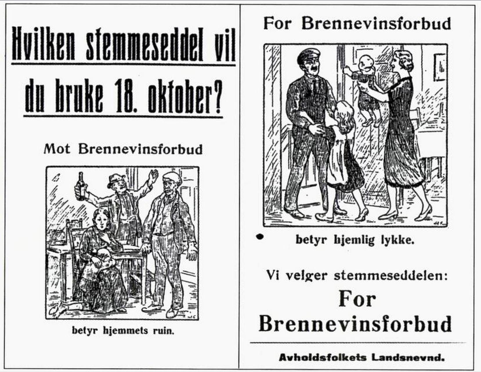 Valgplakat til folkeavstemning om brennevinsforbud 1926