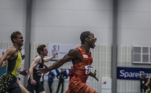 Sprinter Salum Kashafali er også ambassadør for Idrett Utan Alkohol, som har satsa på friidrett i 2017. Foto : Eirik Førde