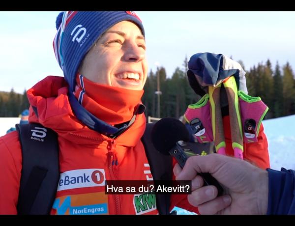 Astrid Uhrenholdt Jacobsen blir intervjuet i kampanje. Sportsreportere liker å koble idrettsprestasjoner til alkohol.