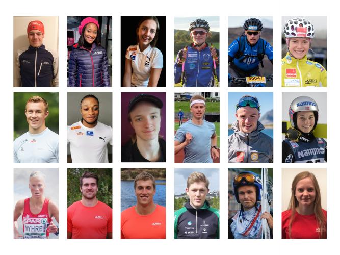 Bildecollage av 18 toppidrettsutøvere som er verdiambassadører for Idrett uten alkohol