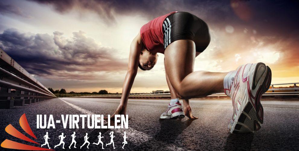 Illustrasjonsbilde for virtuell løpskarusell. Atlet i løpeklær i startposisjon på asfaltert vei. IUA-virtuellens logo nederst til venstre i bildet.