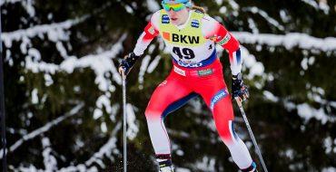 Skiløper Magni Smedås i løypa under verdenscuprenn i Davos